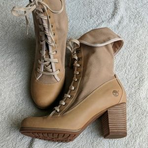 Timberland Canvas and Leather Heeled Boots